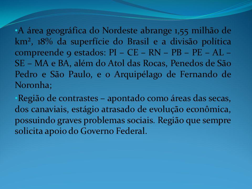 A área geográfica do Nordeste abrange 1,55 milhão de km², 18% da superfície do Brasil e a divisão política compreende 9 estados: PI – CE – RN – PB – P