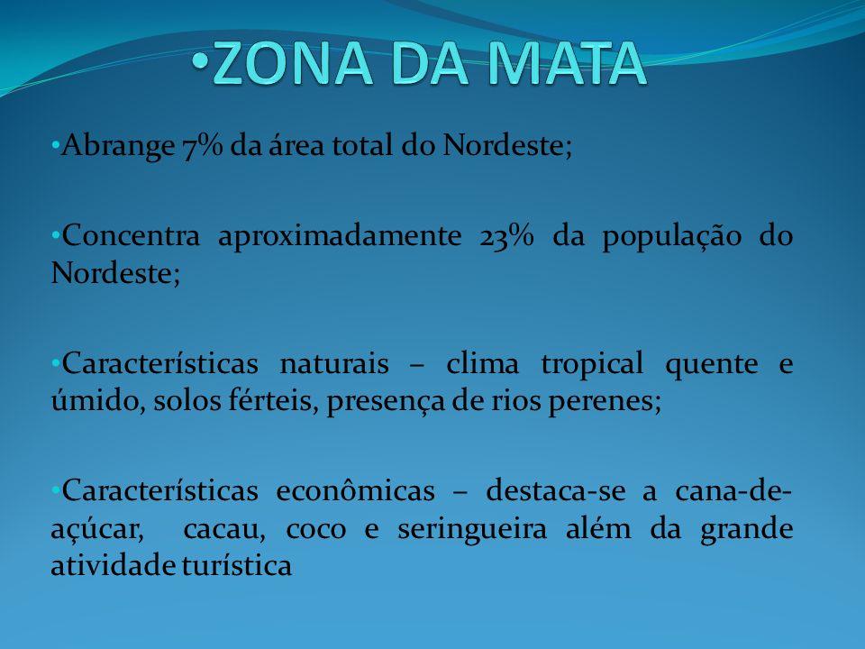 Abrange 7% da área total do Nordeste; Concentra aproximadamente 23% da população do Nordeste; Características naturais – clima tropical quente e úmido