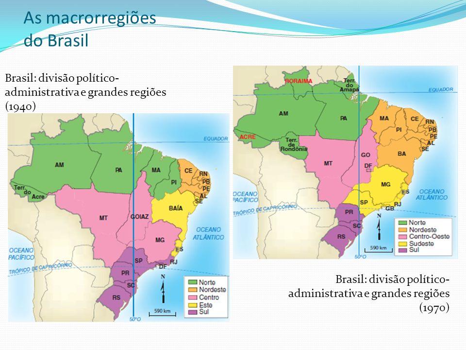 As macrorregiões do Brasil Brasil: divisão político- administrativa e grandes regiões (1940) Brasil: divisão político- administrativa e grandes regiõe