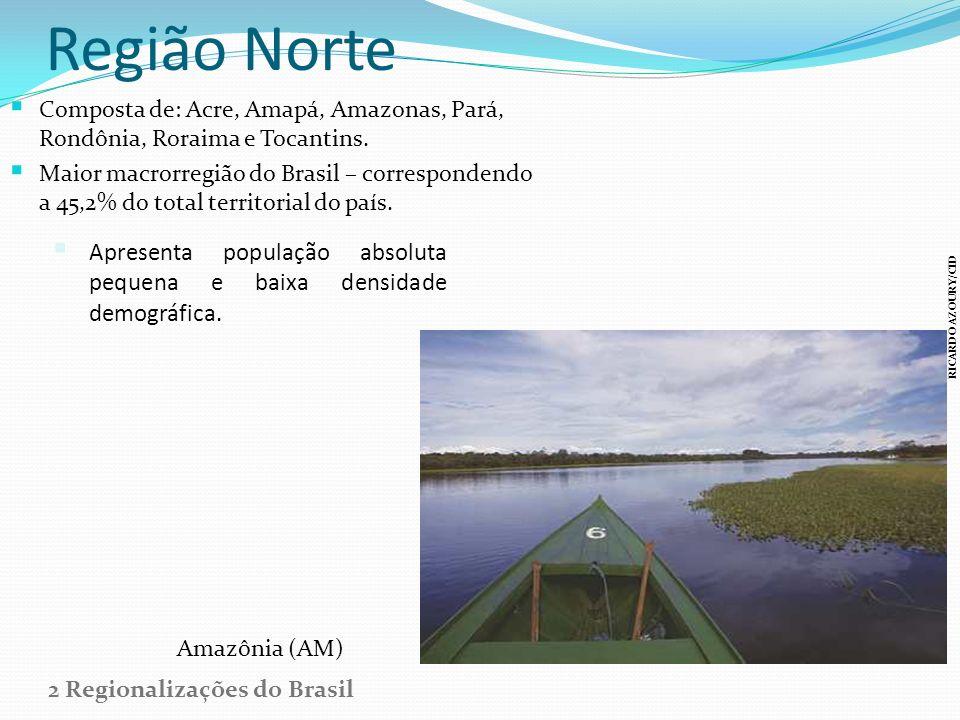 Região Norte Composta de: Acre, Amapá, Amazonas, Pará, Rondônia, Roraima e Tocantins. Maior macrorregião do Brasil – correspondendo a 45,2% do total t