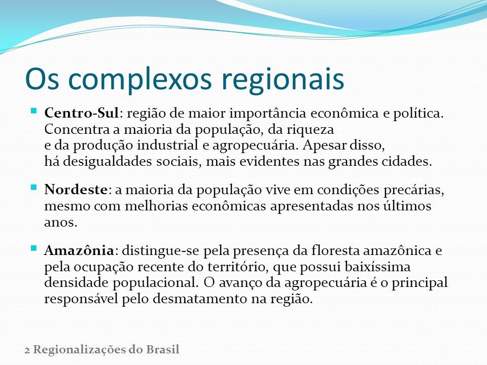 Os complexos regionais Centro-Sul: região de maior importância econômica e política. Concentra a maioria da população, da riqueza e da produção indust