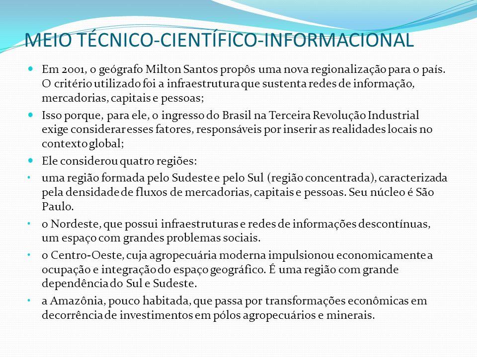 MEIO TÉCNICO-CIENTÍFICO-INFORMACIONAL Em 2001, o geógrafo Milton Santos propôs uma nova regionalização para o país. O critério utilizado foi a infraes