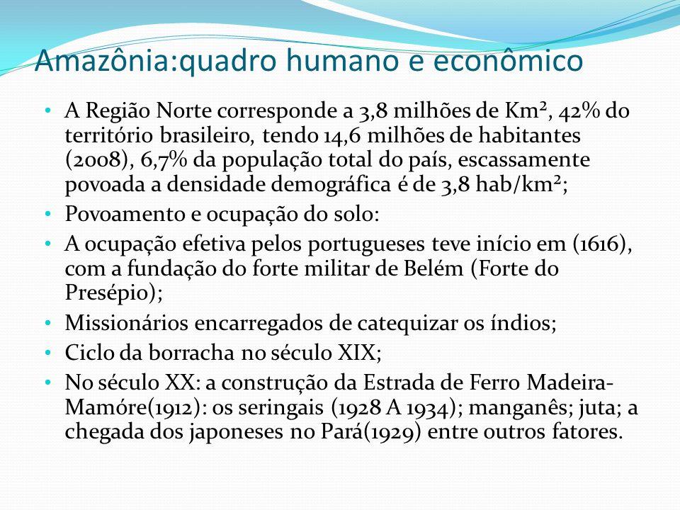 Amazônia:quadro humano e econômico A Região Norte corresponde a 3,8 milhões de Km², 42% do território brasileiro, tendo 14,6 milhões de habitantes (20
