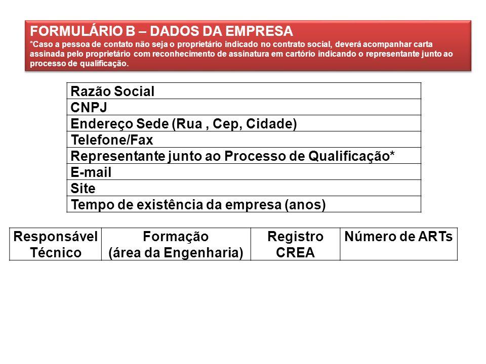 Razão Social CNPJ Endereço Sede (Rua, Cep, Cidade) Telefone/Fax Representante junto ao Processo de Qualificação* E-mail Site Tempo de existência da em
