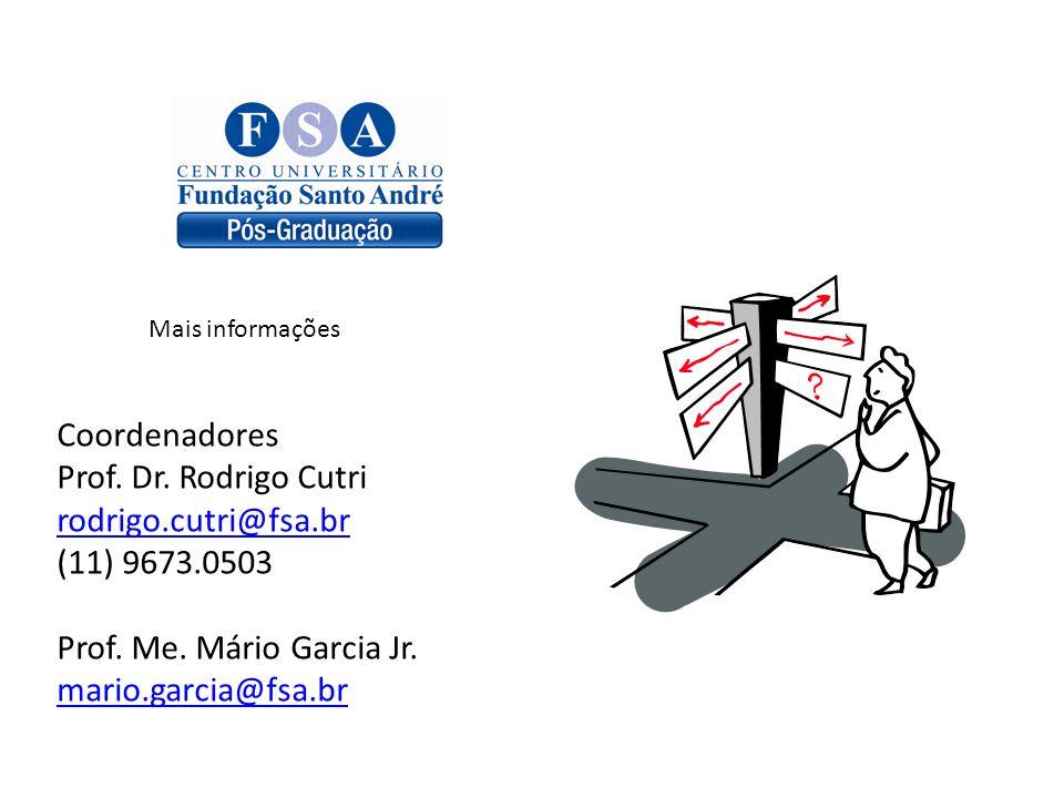 Coordenadores Prof. Dr. Rodrigo Cutri rodrigo.cutri@fsa.br (11) 9673.0503 Prof. Me. Mário Garcia Jr. mario.garcia@fsa.br Mais informações
