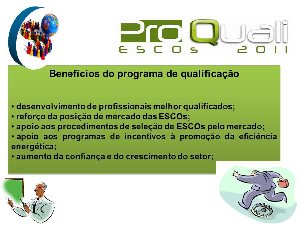 Benefícios do programa de qualificação desenvolvimento de profissionais melhor qualificados; reforço da posição de mercado das ESCOs; apoio aos proced