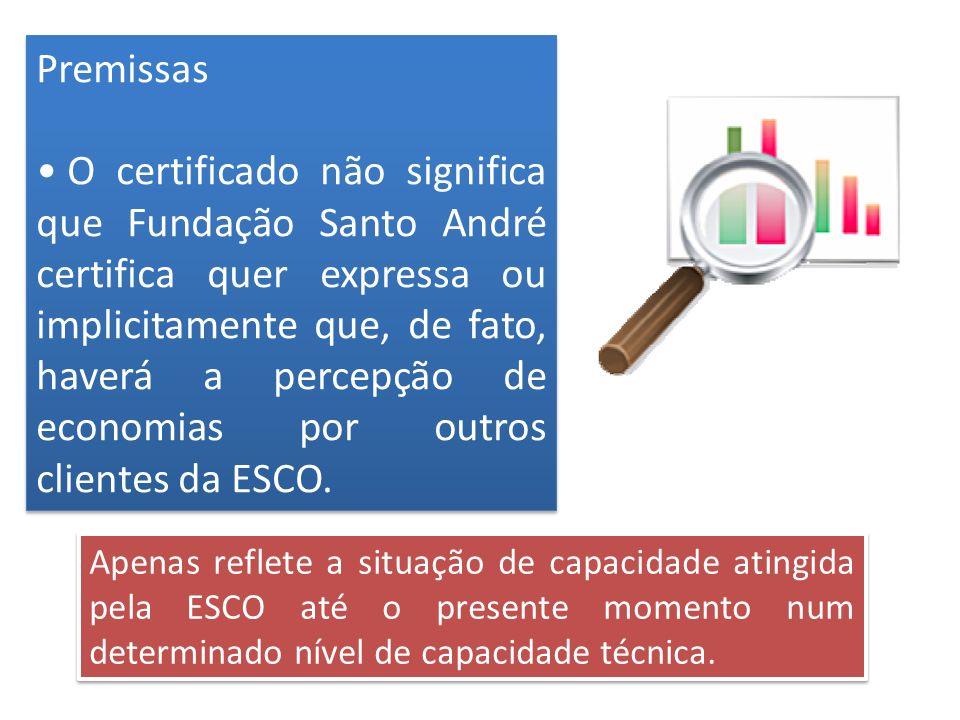 Premissas O certificado não significa que Fundação Santo André certifica quer expressa ou implicitamente que, de fato, haverá a percepção de economias