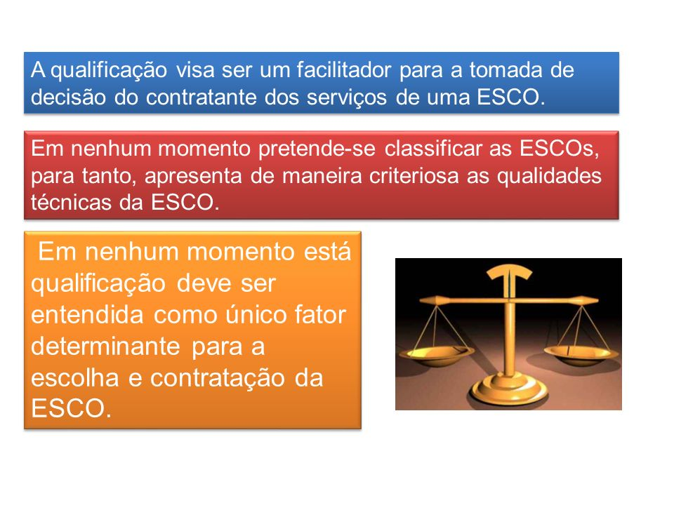 A qualificação visa ser um facilitador para a tomada de decisão do contratante dos serviços de uma ESCO. Em nenhum momento está qualificação deve ser