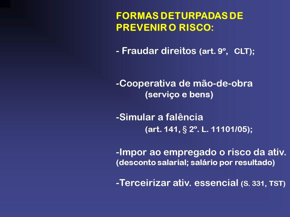 FORMAS DETURPADAS DE PREVENIR O RISCO: - Fraudar direitos (art. 9º, CLT); -Cooperativa de mão-de-obra (serviço e bens) -Simular a falência (art. 141,