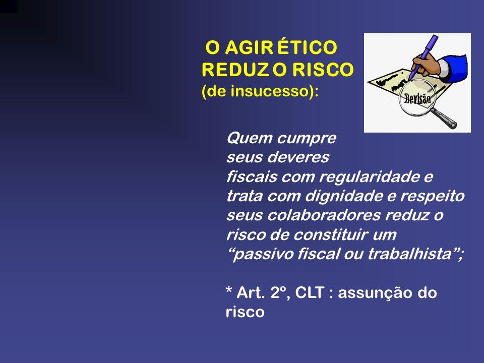 O AGIR ÉTICO REDUZ O RISCO (de insucesso): Quem cumpre seus deveres fiscais com regularidade e trata com dignidade e respeito seus colaboradores reduz