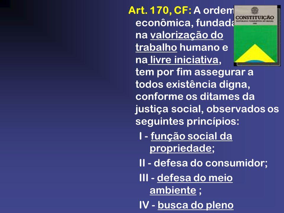 Art. 170, CF: A ordem econômica, fundada na valorização do trabalho humano e na livre iniciativa, tem por fim assegurar a todos existência digna, conf