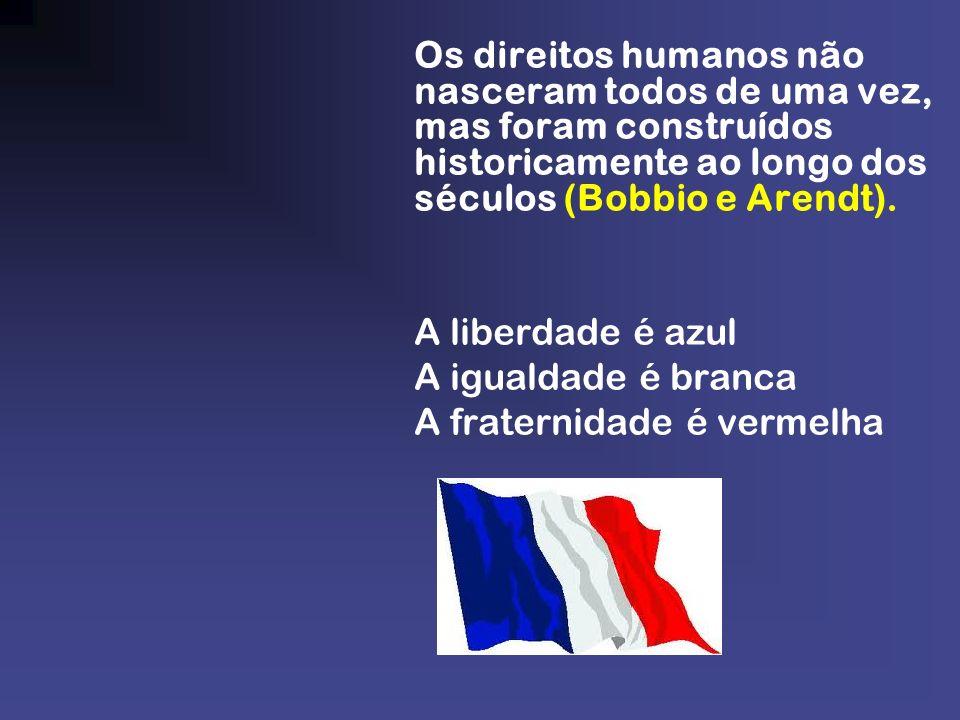 Os direitos humanos não nasceram todos de uma vez, mas foram construídos historicamente ao longo dos séculos (Bobbio e Arendt). A liberdade é azul A i