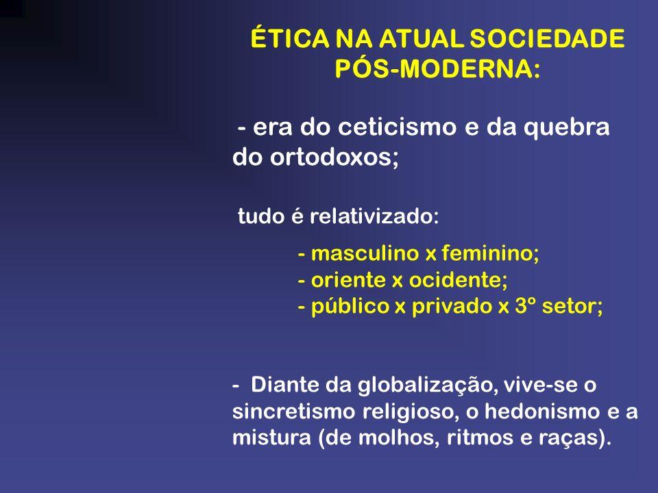 ÉTICA NA ATUAL SOCIEDADE PÓS-MODERNA: - era do ceticismo e da quebra do ortodoxos; tudo é relativizado: - masculino x feminino; - oriente x ocidente;