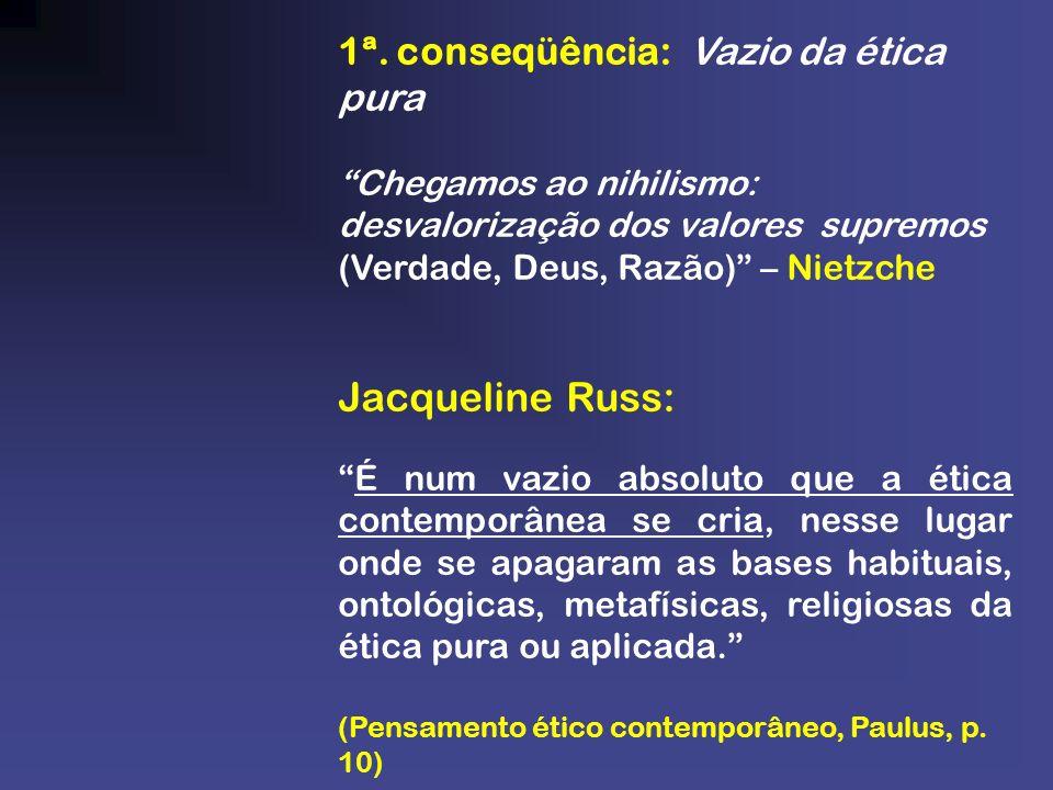 1ª. conseqüência: Vazio da ética pura Chegamos ao nihilismo: desvalorização dos valores supremos (Verdade, Deus, Razão) – Nietzche Jacqueline Russ: É
