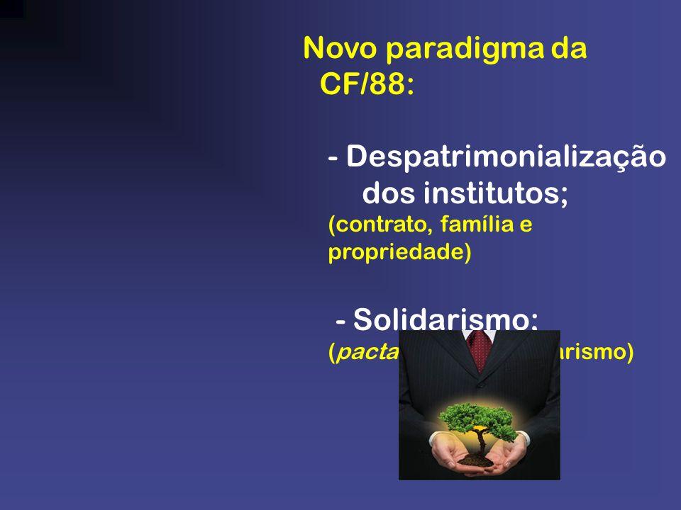 Novo paradigma da CF/88: - Despatrimonialização dos institutos; (contrato, família e propriedade) - Solidarismo; (pacta, rebus e solidarismo)