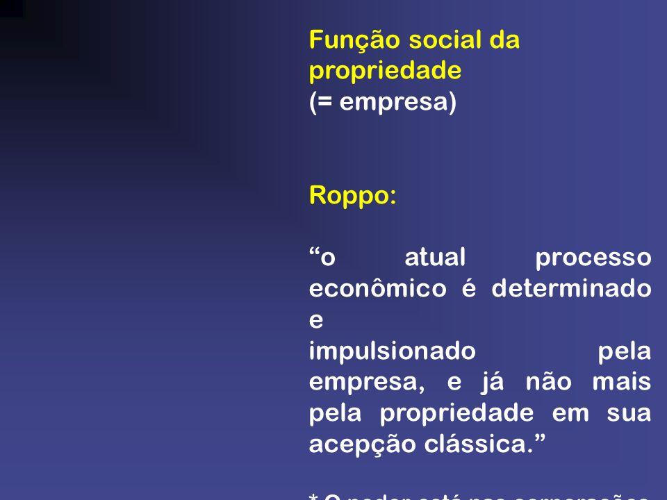 Função social da propriedade (= empresa) Roppo: o atual processo econômico é determinado e impulsionado pela empresa, e já não mais pela propriedade e