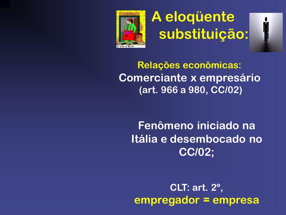 A eloqüente substituição: Relações econômicas: Comerciante x empresário (art. 966 a 980, CC/02) Fenômeno iniciado na Itália e desembocado no CC/02; CL