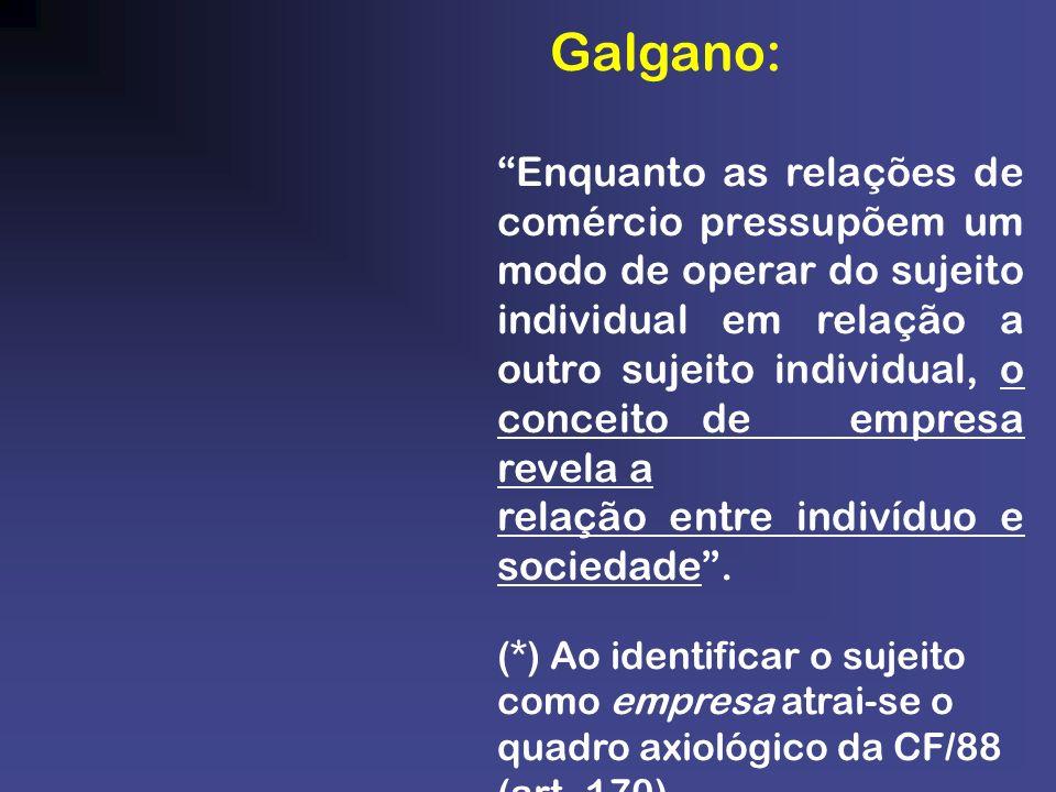 Galgano: Enquanto as relações de comércio pressupõem um modo de operar do sujeito individual em relação a outro sujeito individual, o conceito de empr