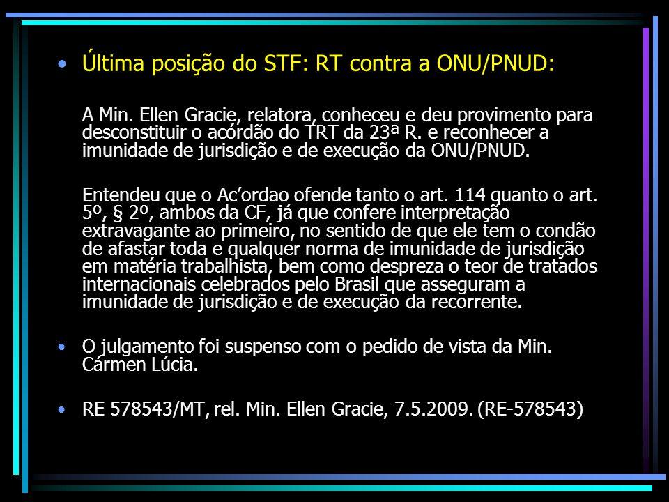 Última posição do STF: RT contra a ONU/PNUD: A Min. Ellen Gracie, relatora, conheceu e deu provimento para desconstituir o acórdão do TRT da 23ª R. e