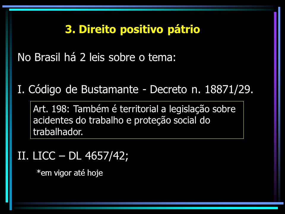 3. Direito positivo pátrio No Brasil há 2 leis sobre o tema: I. Código de Bustamante - Decreto n. 18871/29. II. LICC – DL 4657/42; *em vigor até hoje