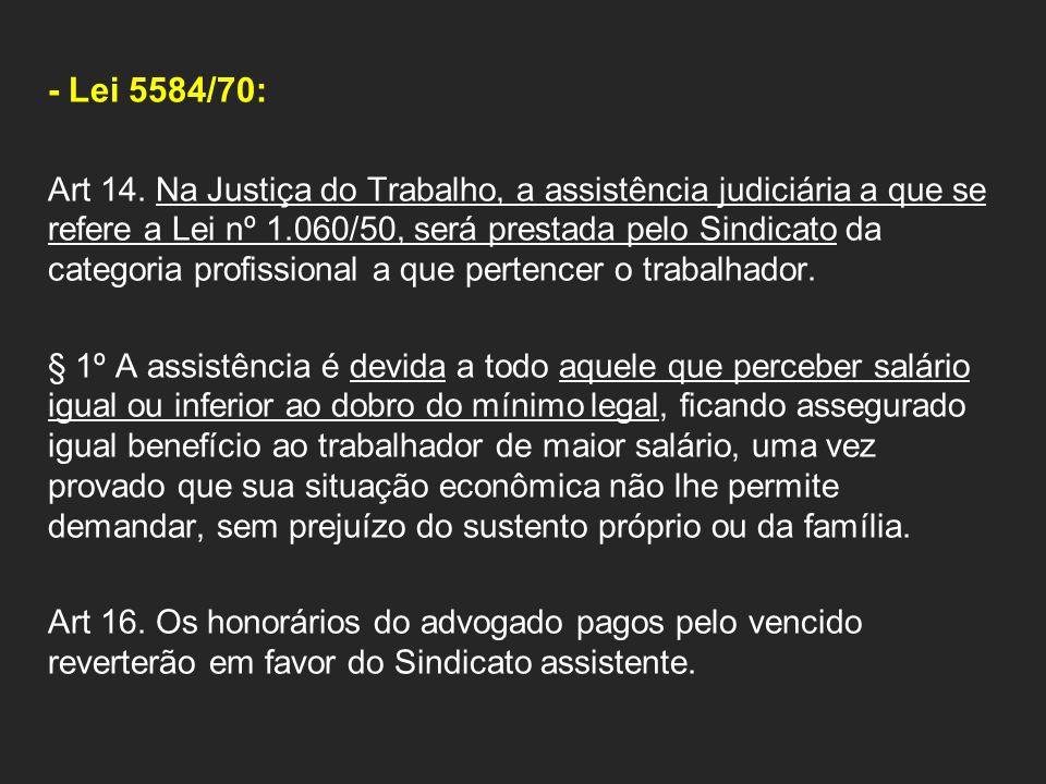 - Lei 5584/70: Art 14. Na Justiça do Trabalho, a assistência judiciária a que se refere a Lei nº 1.060/50, será prestada pelo Sindicato da categoria p