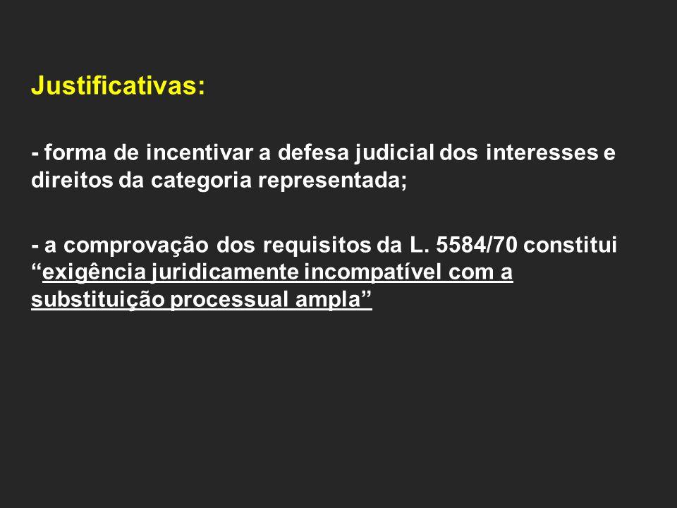 Justificativas: - forma de incentivar a defesa judicial dos interesses e direitos da categoria representada; - a comprovação dos requisitos da L.