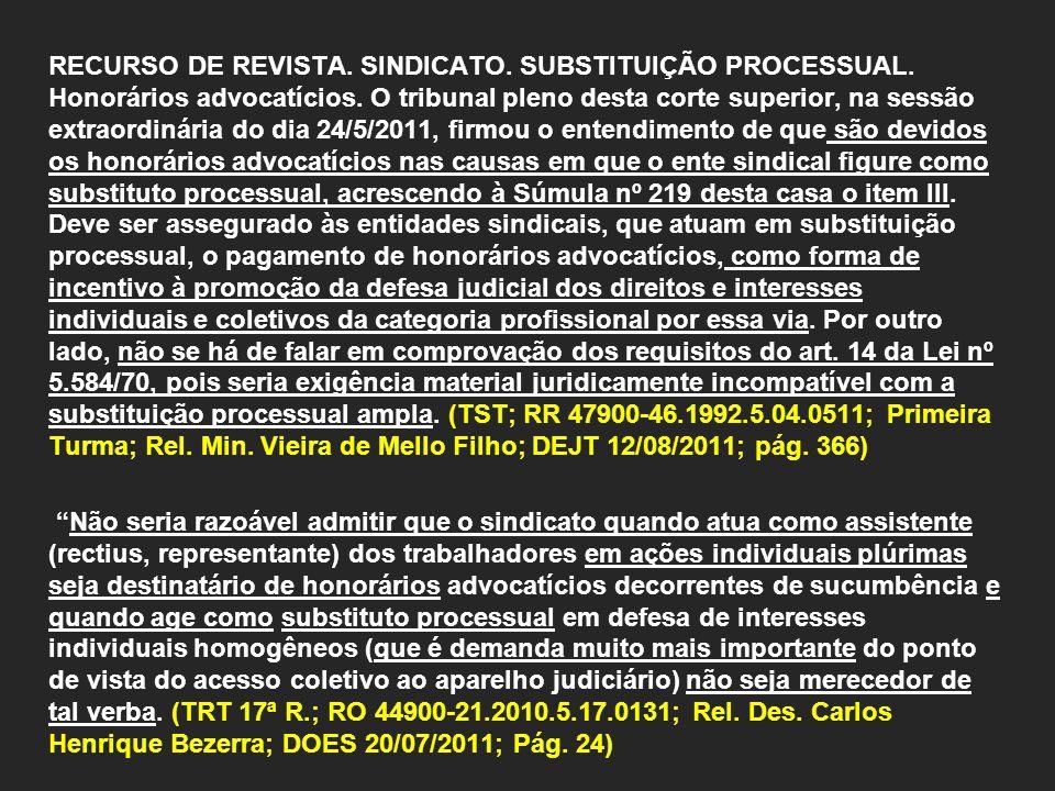 RECURSO DE REVISTA.SINDICATO. SUBSTITUIÇÃO PROCESSUAL.