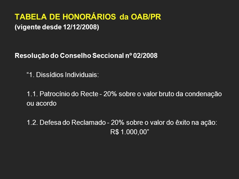 TABELA DE HONORÁRIOS da OAB/PR (vigente desde 12/12/2008) Resolução do Conselho Seccional nº 02/2008 1. Dissídios Individuais: 1.1. Patrocínio do Rect