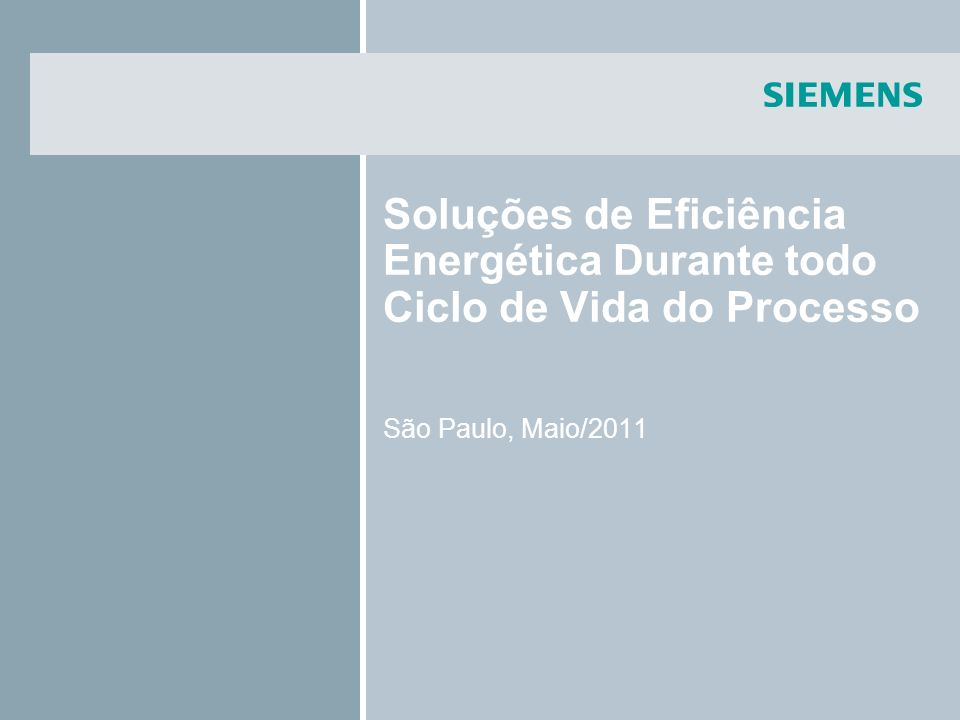 Soluções de Eficiência Energética Durante todo Ciclo de Vida do Processo São Paulo, Maio/2011