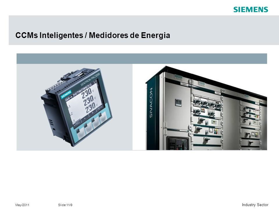 May/2011Slide 11/9 Industry Sector CCMs Inteligentes / Medidores de Energia