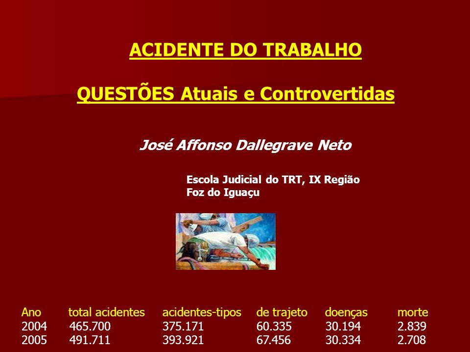 ACIDENTE DO TRABALHO QUESTÕES Atuais e Controvertidas José Affonso Dallegrave Neto Escola Judicial do TRT, IX Região Foz do Iguaçu Anototal acidentesa
