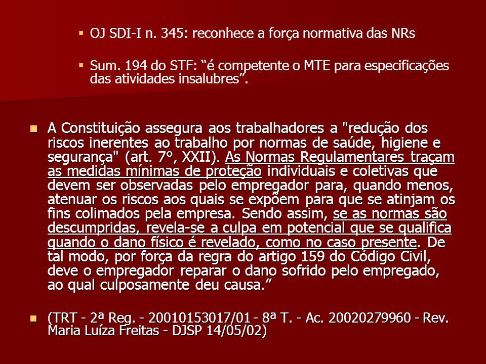 OJ SDI-I n. 345: reconhece a força normativa das NRs Sum. 194 do STF: é competente o MTE para especificações das atividades insalubres. A Constituição