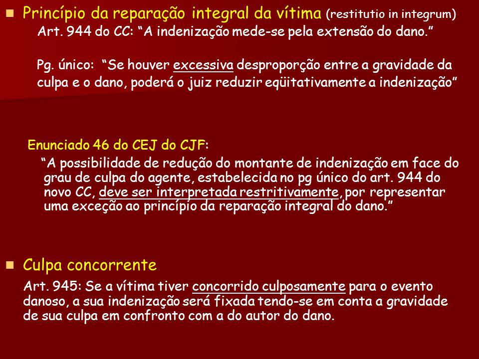 Princípio da reparação integral da vítima (restitutio in integrum) Art. 944 do CC: A indenização mede-se pela extensão do dano. Pg. único: Se houver e