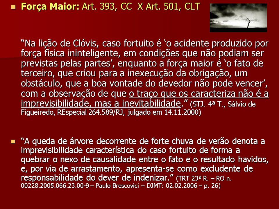 Força Maior: Art. 393, CC X Art. 501, CLT Força Maior: Art. 393, CC X Art. 501, CLT Na lição de Clóvis, caso fortuito é o acidente produzido por força