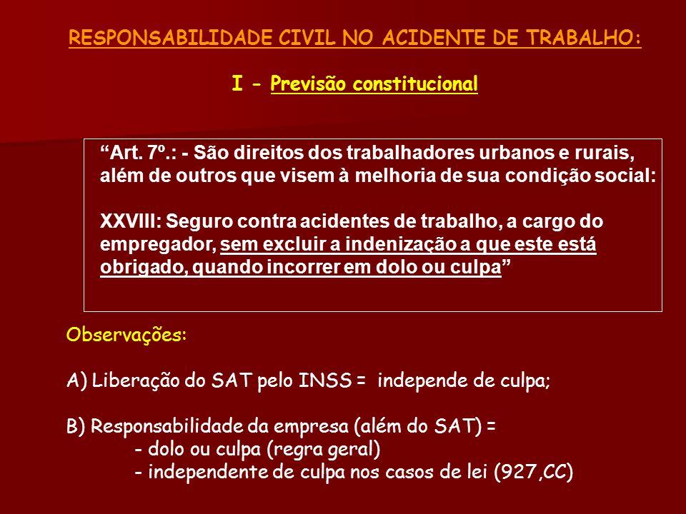 RESPONSABILIDADE CIVIL NO ACIDENTE DE TRABALHO: I - Previsão constitucional Art. 7º.: - São direitos dos trabalhadores urbanos e rurais, além de outro