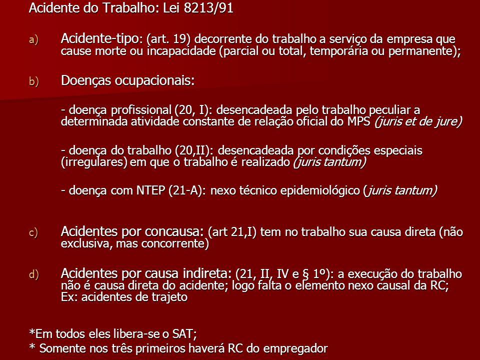 Acidente do Trabalho: Lei 8213/91 a) Acidente-tipo : (art. 19) decorrente do trabalho a serviço da empresa que cause morte ou incapacidade (parcial ou