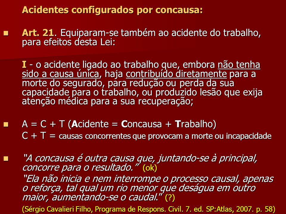 Acidentes configurados por concausa: Art. 21. Equiparam-se também ao acidente do trabalho, para efeitos desta Lei: Art. 21. Equiparam-se também ao aci