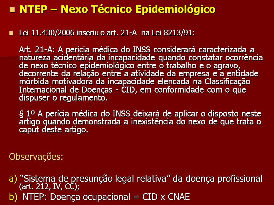 NTEP – Nexo Técnico Epidemiológico NTEP – Nexo Técnico Epidemiológico Lei 11.430/2006 inseriu o art. 21-A na Lei 8213/91: Lei 11.430/2006 inseriu o ar