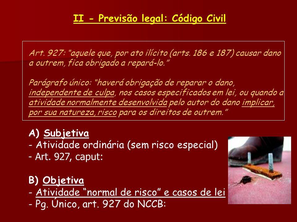 II - Previsão legal: Código Civil Art. 927: aquele que, por ato ilícito (arts. 186 e 187) causar dano a outrem, fica obrigado a repará-lo. Parágrafo ú