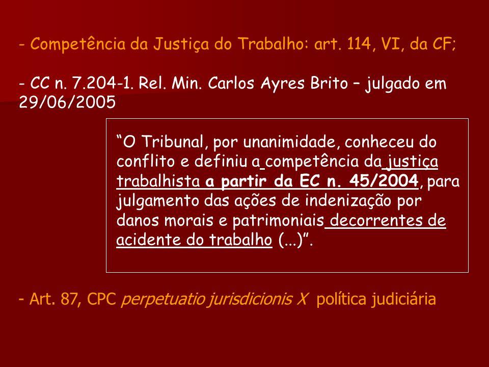 - Competência da Justiça do Trabalho: art. 114, VI, da CF; - CC n. 7.204-1. Rel. Min. Carlos Ayres Brito – julgado em 29/06/2005 O Tribunal, por unani