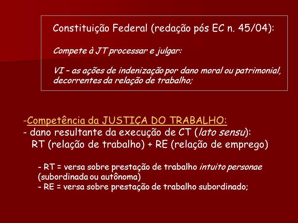 Constituição Federal (redação pós EC n. 45/04): Compete à JT processar e julgar: VI – as ações de indenização por dano moral ou patrimonial, decorrent