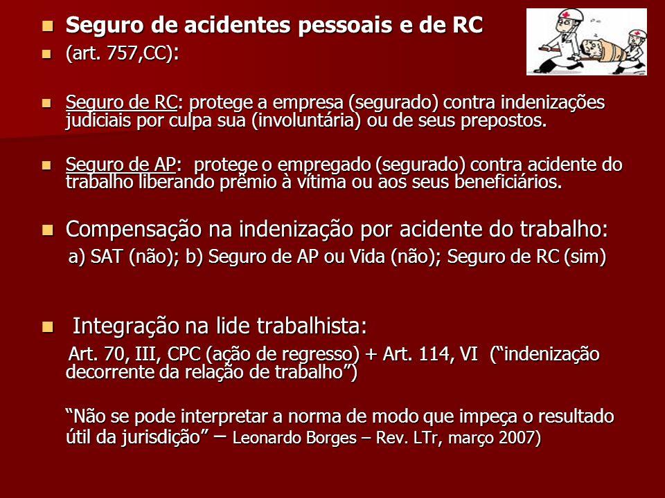 Seguro de acidentes pessoais e de RC Seguro de acidentes pessoais e de RC (art. 757,CC) : (art. 757,CC) : Seguro de RC: protege a empresa (segurado) c