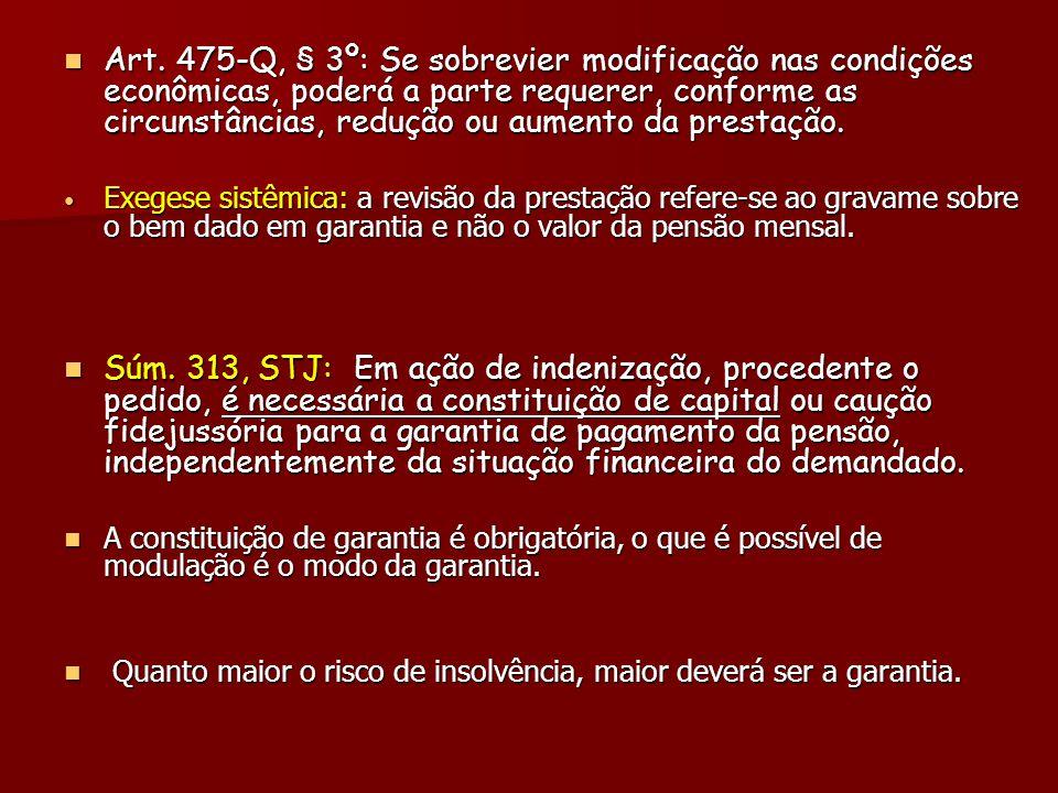 Art. 475-Q, § 3º: Se sobrevier modificação nas condições econômicas, poderá a parte requerer, conforme as circunstâncias, redução ou aumento da presta