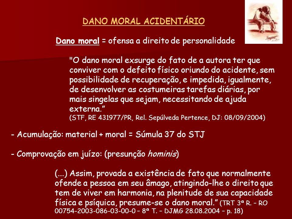 DANO MORAL ACIDENTÁRIO Dano moral = ofensa a direito de personalidade