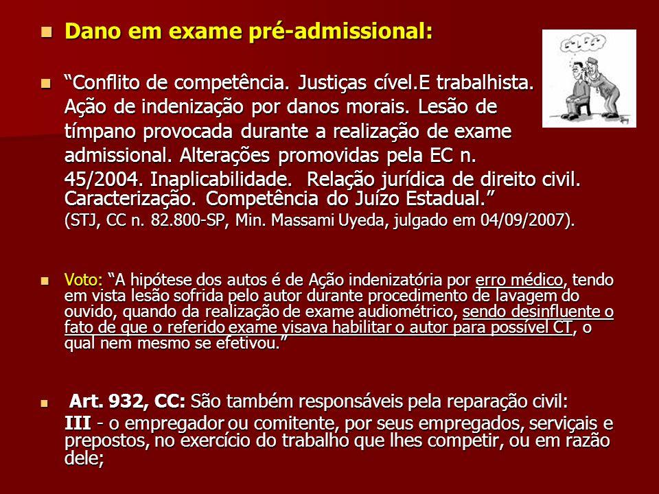 Dano em exame pré-admissional: Dano em exame pré-admissional: Conflito de competência. Justiças cível.E trabalhista. Conflito de competência. Justiças