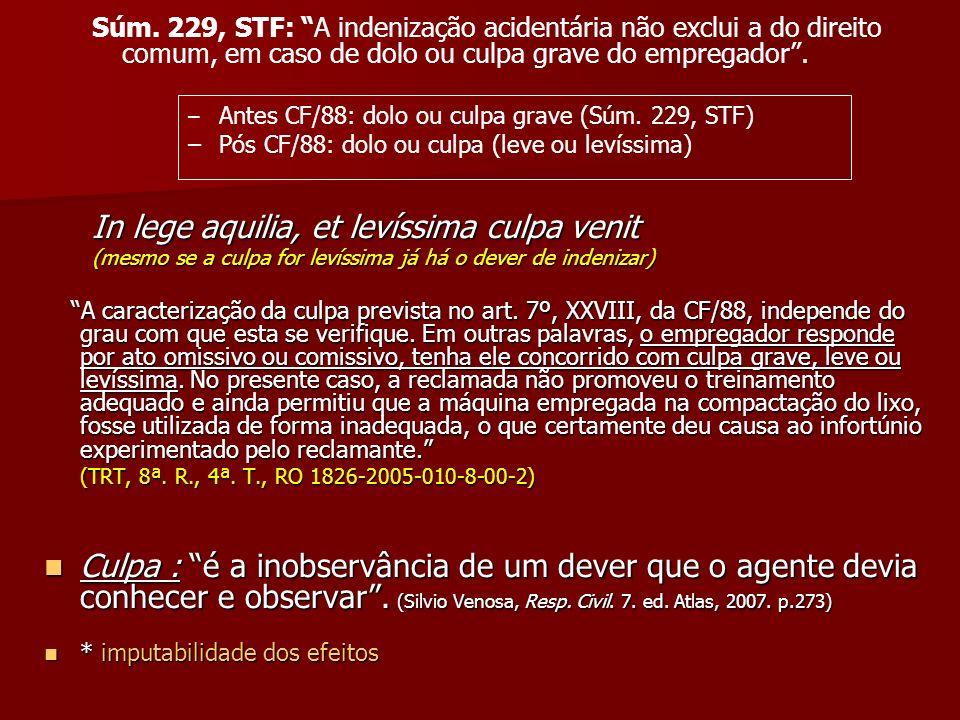 Súm. 229, STF: A indenização acidentária não exclui a do direito comum, em caso de dolo ou culpa grave do empregador. – – Antes CF/88: dolo ou culpa g