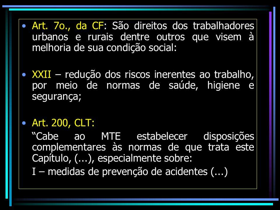 Art. 7o., da CF: São direitos dos trabalhadores urbanos e rurais dentre outros que visem à melhoria de sua condição social: XXII – redução dos riscos