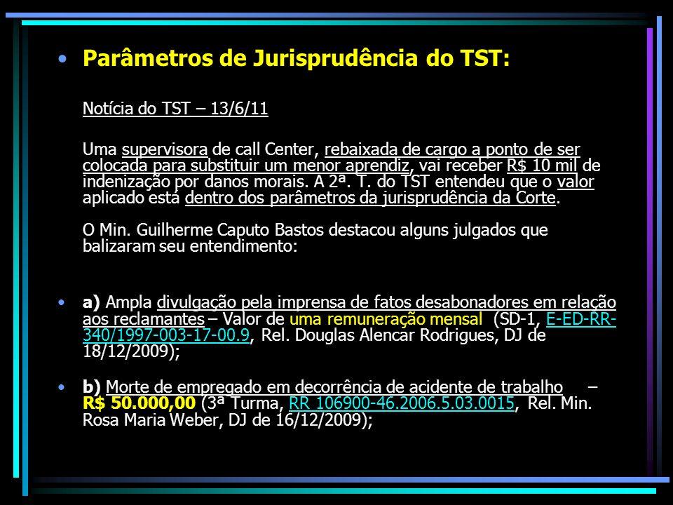 Parâmetros de Jurisprudência do TST: Notícia do TST – 13/6/11 Uma supervisora de call Center, rebaixada de cargo a ponto de ser colocada para substituir um menor aprendiz, vai receber R$ 10 mil de indenização por danos morais.