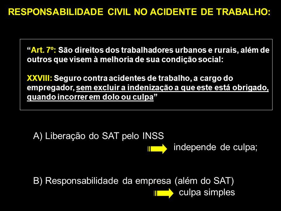 RESPONSABILIDADE CIVIL NO ACIDENTE DE TRABALHO: Art. 7º: São direitos dos trabalhadores urbanos e rurais, além de outros que visem à melhoria de sua c
