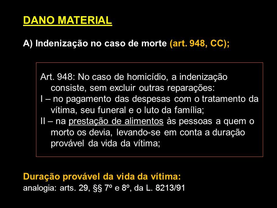 DANO MATERIAL A) Indenização no caso de morte (art. 948, CC); Art. 948: No caso de homicídio, a indenização consiste, sem excluir outras reparações: I